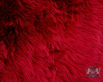 """Faux Fur Long Pile Shaggy Dark Red  Fabric / 60"""" Wide / Sold by the yard"""