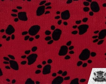 Paw Print Red Velboa Fabric Sold by the Yard