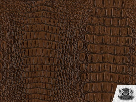 "Vinyl Crocodile Crock TOPAZ Fake Leather Upholstery Fabric / 54"" Wide / Sold By the Yard"