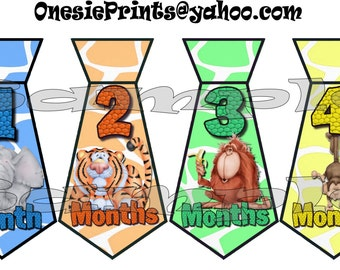 PRECUT - 12 Tie stickers Necktie Monthly Stickers Month Stickers Growth Stickers Infant age sticker photo stickers Baby Boy Jungle decals