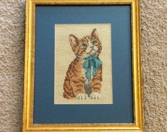 Kitten with a Blue Bow Cross Stitch
