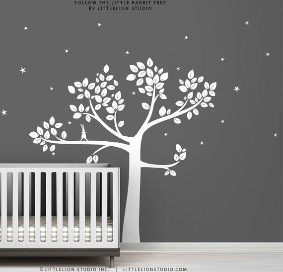 White Follow the Little Rabbit Tree Wall Decal by LittleLion Studio