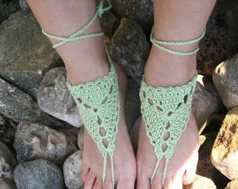 Barefoot Sandals Green Crocheted Handmade Nude Shoes, foot accessories, summer fashion, wedding accessories, hippie shoes, crochet barefoot