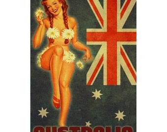 AUSTRALIA 1P- Handmade Leather Mini Wallet / Cardholder - Travel Art