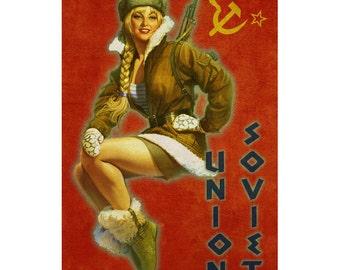 SOVIET UNION 1P- Handmade Leather Mini Wallet / Cardholder - Travel Art