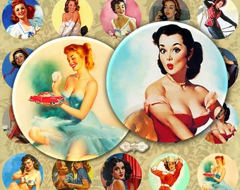 Pin Up Girls - Circle Image - 1 Inch Circle - Bottle Cap Circles - Pendant Glass - Pinup Retro Images - Instant Download, retro stickers