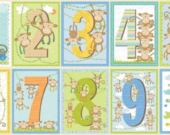 SUPER CLEARANCE! Little Monkey Numbers Panel Multi Cotton Quilt Fabric - by Sharon Kropp for Blend Fabrics (W12)