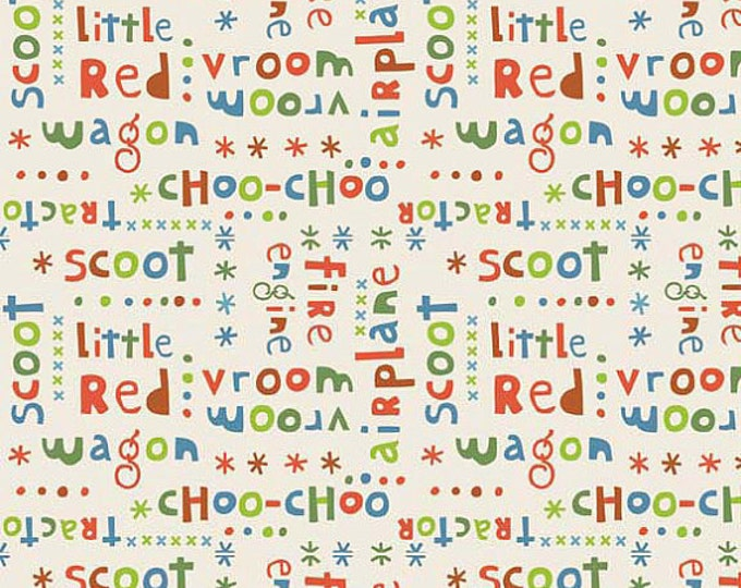 SUPER CLEARANCE! One Yard Riley Blake Scoot - Words in Cream Cotton Quilt Fabric - by Deena Rutter - Fire Engine, Tractor, Vroom Vroom (W29)