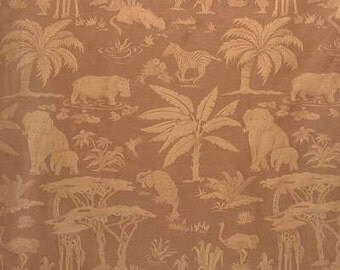 Lee Jofa Les Animaux d'Afrique Linen Silk Brown Upholstery Drapery Fabric