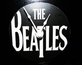 THE BEATLES Inspired White Logo Vinyl Record LP Wall Clock