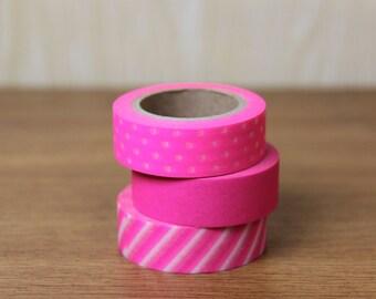 Washi Tape Set of 3 - The Neon Pink set - N01/N05/N06