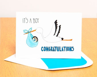 Baby Boy Card - Stork Carrying Baby - Congratulations