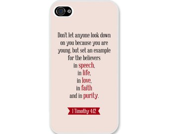 Bible Verse iPhone Case 1 Timothy 4:12 - Christian iPhone Case - Christian Bible Verse Phone Case SKU#1TM0040120-300001