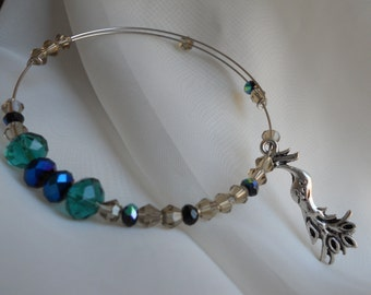 Birds of a feather adjustable beaded bangle