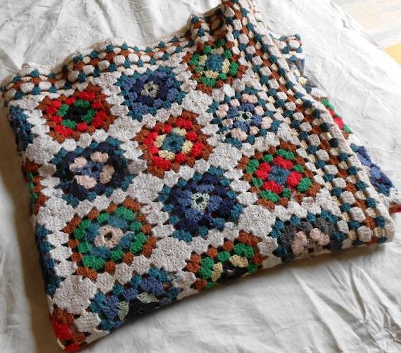 Coperta uncinetto copriletto in pura lana merino coperta - Piastrelle di lana all uncinetto ...