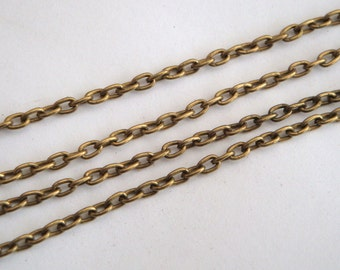 Antique bronze chain 3m, links 2 x 3mm necklace cable chain 3 metres