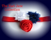 Red, White, and Blue Flower Headband