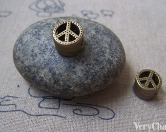 10 pcs of Antique Bronze Filigree Peace Symbol Beads 10mm A4927