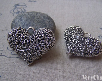 2 pcs of Antique Silver 3D Filigree Heart Pendants 32x42mm HEAVY WEIGHT A4936