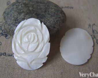 6 pcs Mother of Pearl Shell Engraved Rose Flower Oval Cameo 22x30mm A4597