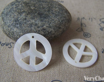 Peace Symbol Sign Natural Mother of Pearl Charms 20mm Set of 5 A4600