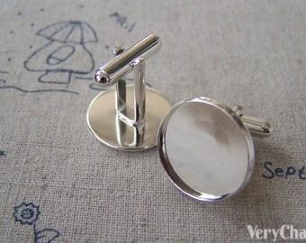 Silver Cufflink Blanks Round Bezel Cuff Link Settings Match 18mm Cabochon Set of 10 A2619