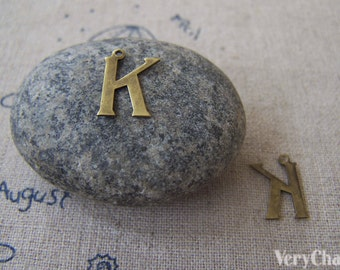 10 pcs of Antique Bronze Brass Alphabet Letter K Charms 10x15mm A2416