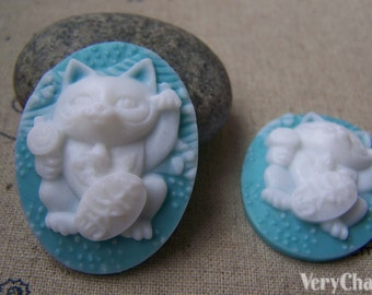 6 pcs of Resin Oval Cat Cameo Cabochon Blue 28x37mm A2932