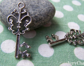 10 pcs of Antique Silver Skeleton Key Charms Pendants 16x36mm A1229
