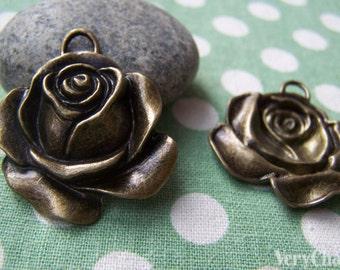 Antique Bronze Rose Flower Pendants 32x35mm Set of 4  A397