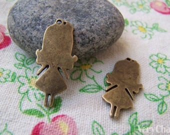 10 pcs of Antique Bronze Lovely Girl Charms Pendants 13x27mm A700