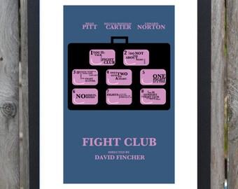 Fight Club minimal minimalist movie film print poster rules of fight club soap