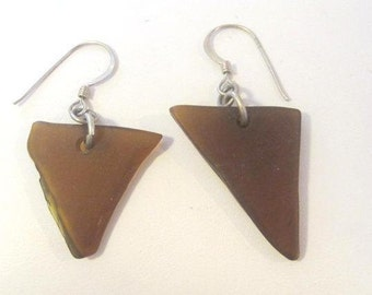 Vintage Sterling silver Natural Amber dangle earrings
