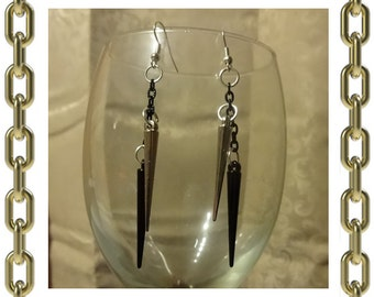 Silver & Black Spike Earrings - 1 Pair