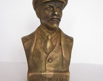 Bronze Bust Lenin Figure Sculpture