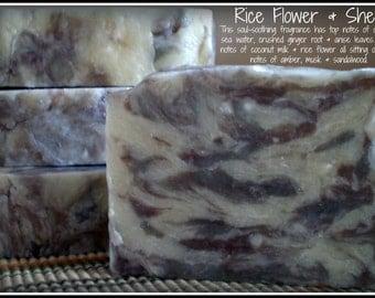 Rice Flower & Shea - Rustic Suds Natural - Organic Goat Milk Triple Butter Soap Bar - 5-6oz. Each