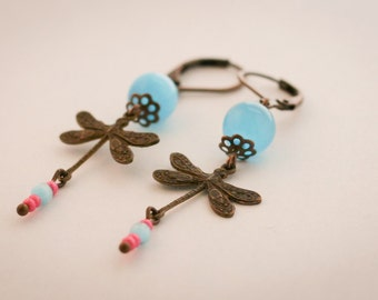 Turquoise dragonfly brass earings