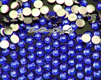 6MM SS30 250 Pieces Royal Blue Resin Flatback Rhinestones 14 Facets