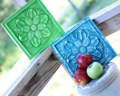 Funky Bright Green & Turquoise Distressed Upcycled Painted Wall Plaques - GetColorCrazy