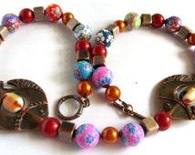 Multicolour Beaded Fish Necklace, Chunky Fimo and Copper Beads Necklace, Colourful Bold Necklace