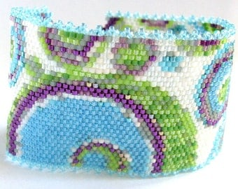 Colourful Peyote Cuff Bracelet with Blue, Green and Purple Bubbles