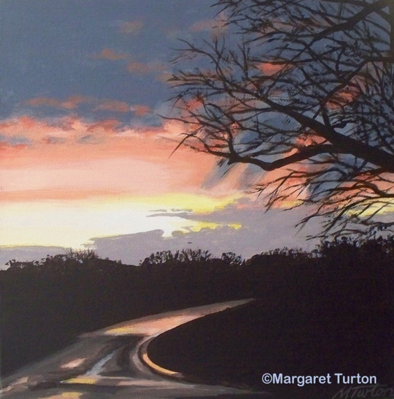 Sunset Road, acrylic painting on canvas
