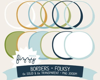 PNG: 12 x Circle Clipart Borders in Folksy colour set - Digital with Instant Download. BC0011