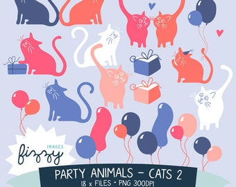 18 piece Cats and Balloons Clipart in a range colours - Digital files with Instant Download. CA0011