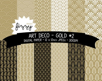 JPEG: 12 x  Art Deco Great Gatsby 1920s 1930s Gold No.2 Patterned Digital Paper Clipart  with Instant Download. MPS0027