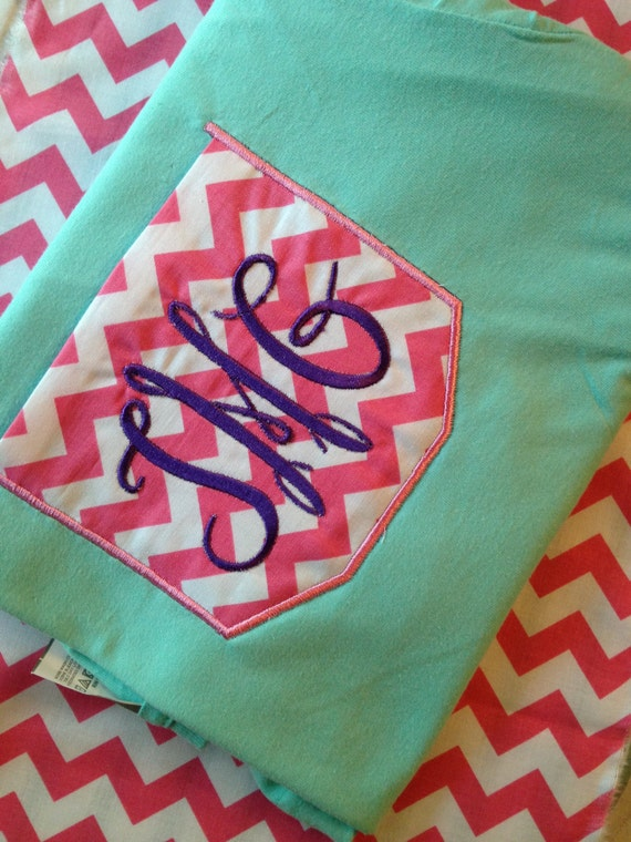 chevron pocket tee with monogram