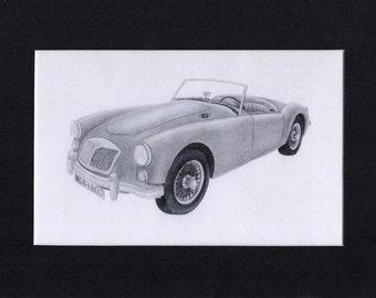 Car art drawing print of a 1961 MG