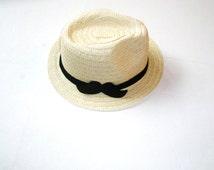 Summer Hat-fedora hat-Mustache Sun Hat - - Beach Pool hat-men sun hat-women sun hat
