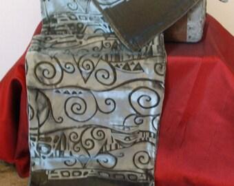 Gustav Klimt inspired embossed iridescent velvet scarf.