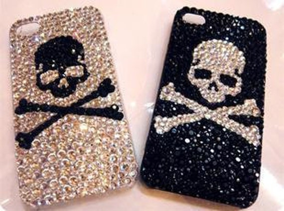 Charming skull iPhone case iphone 4/4s flower case iphone 5 case iphone hard case iPhone clear case iphone cover bling case handmade